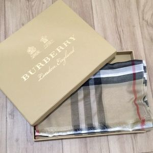 Burberry long cotton silk blend scarf